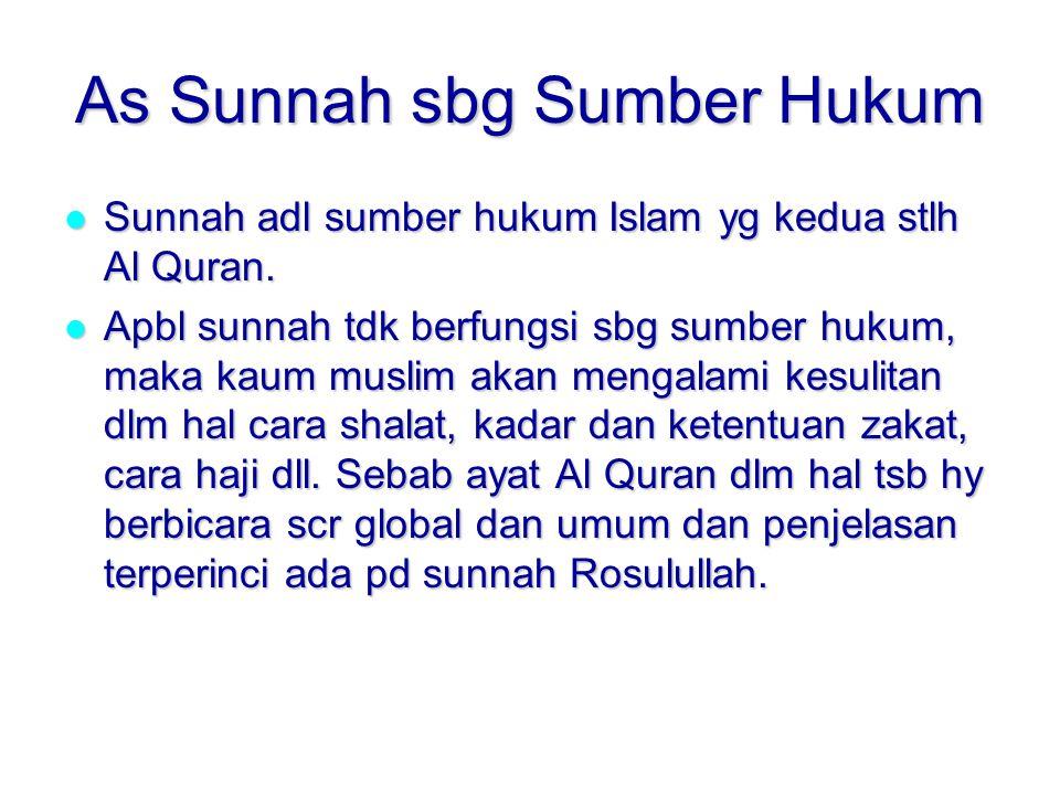 As Sunnah sbg Sumber Hukum