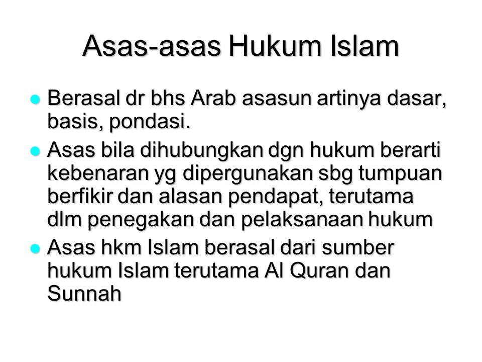 Asas-asas Hukum Islam Berasal dr bhs Arab asasun artinya dasar, basis, pondasi.