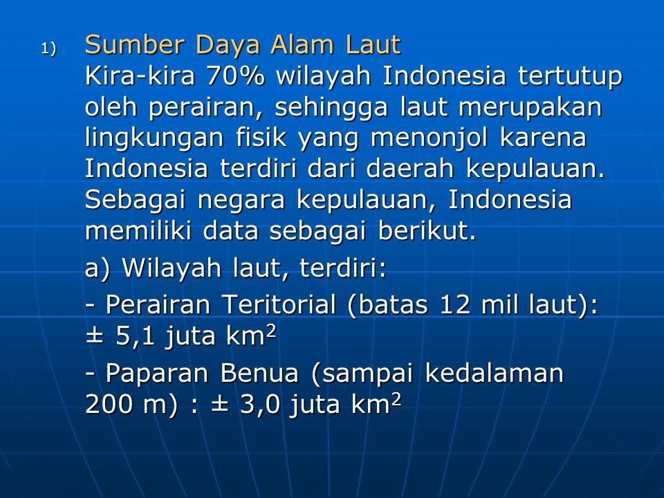 Sumber Daya Alam Laut Kira-kira 70% wilayah Indonesia tertutup oleh perairan, sehingga laut merupakan lingkungan fisik yang menonjol karena Indonesia terdiri dari daerah kepulauan. Sebagai negara kepulauan, Indonesia memiliki data sebagai berikut.