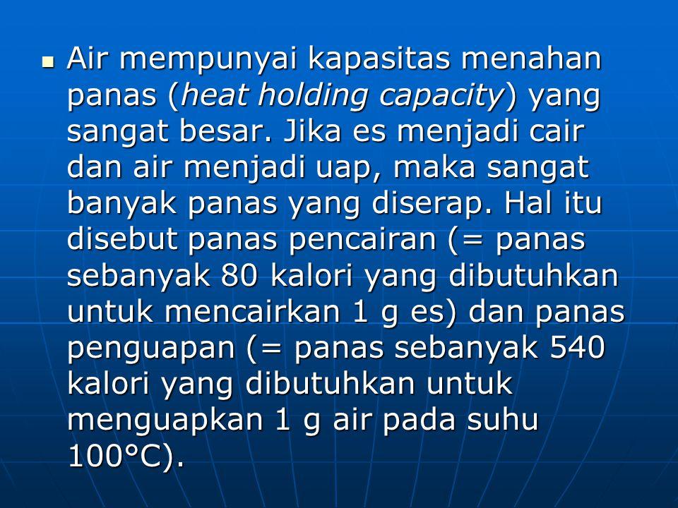 Air mempunyai kapasitas menahan panas (heat holding capacity) yang sangat besar.