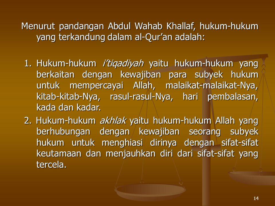 Menurut pandangan Abdul Wahab Khallaf, hukum-hukum yang terkandung dalam al-Qur'an adalah: