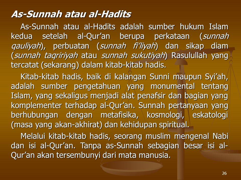 As-Sunnah atau al-Hadits