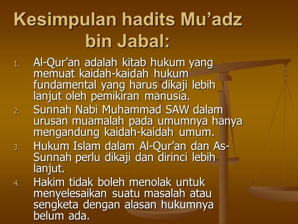 Kesimpulan hadits Mu'adz bin Jabal: