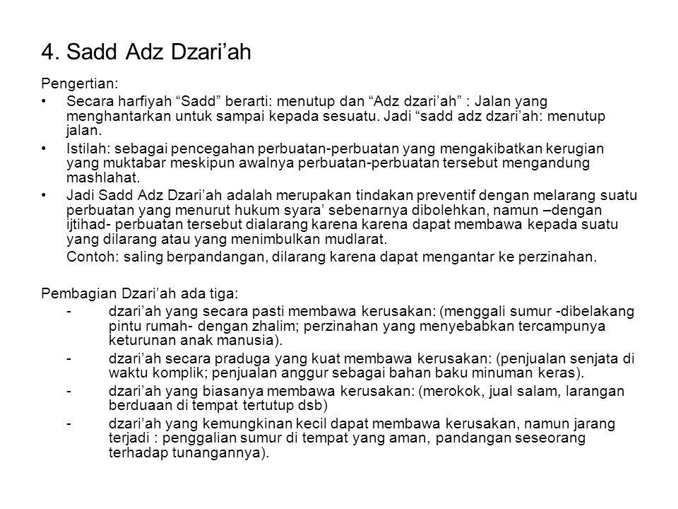 4. Sadd Adz Dzari'ah Pengertian: