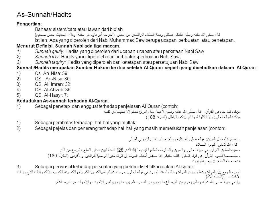 As-Sunnah/Hadits Pengertian: