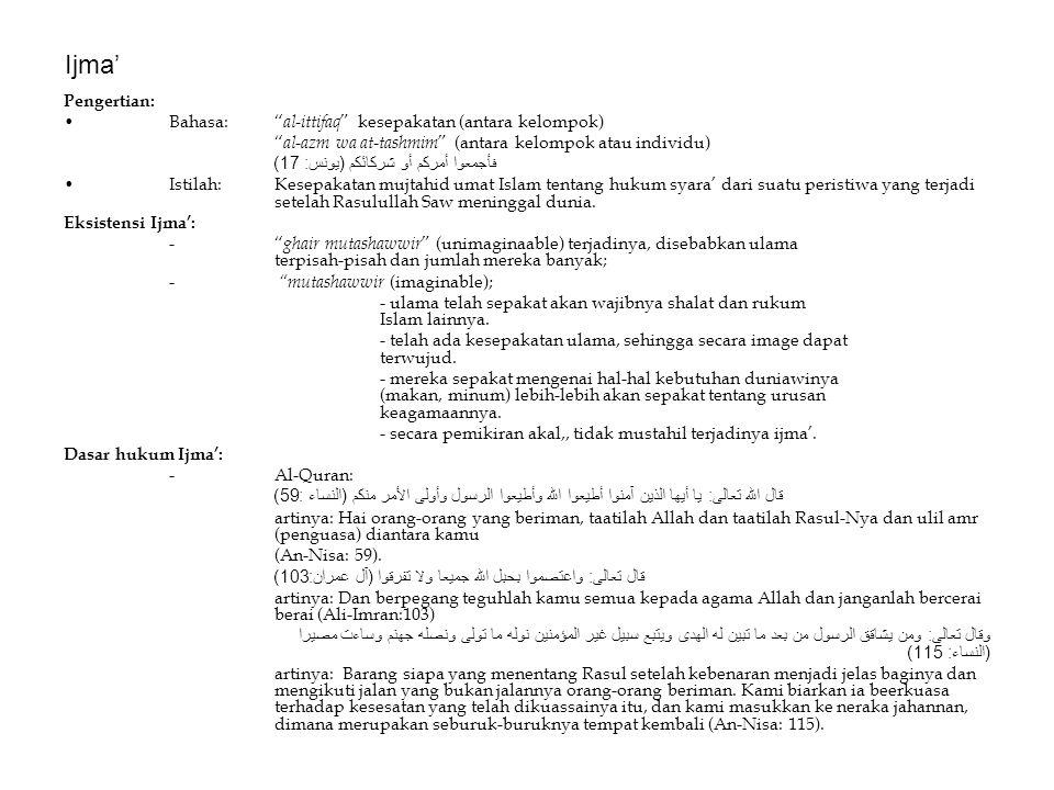 Ijma' Pengertian: Bahasa: al-ittifaq kesepakatan (antara kelompok)