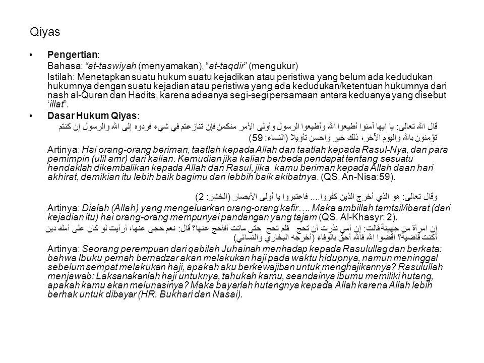 Qiyas Pengertian: Bahasa: at-taswiyah (menyamakan), at-taqdir (mengukur)