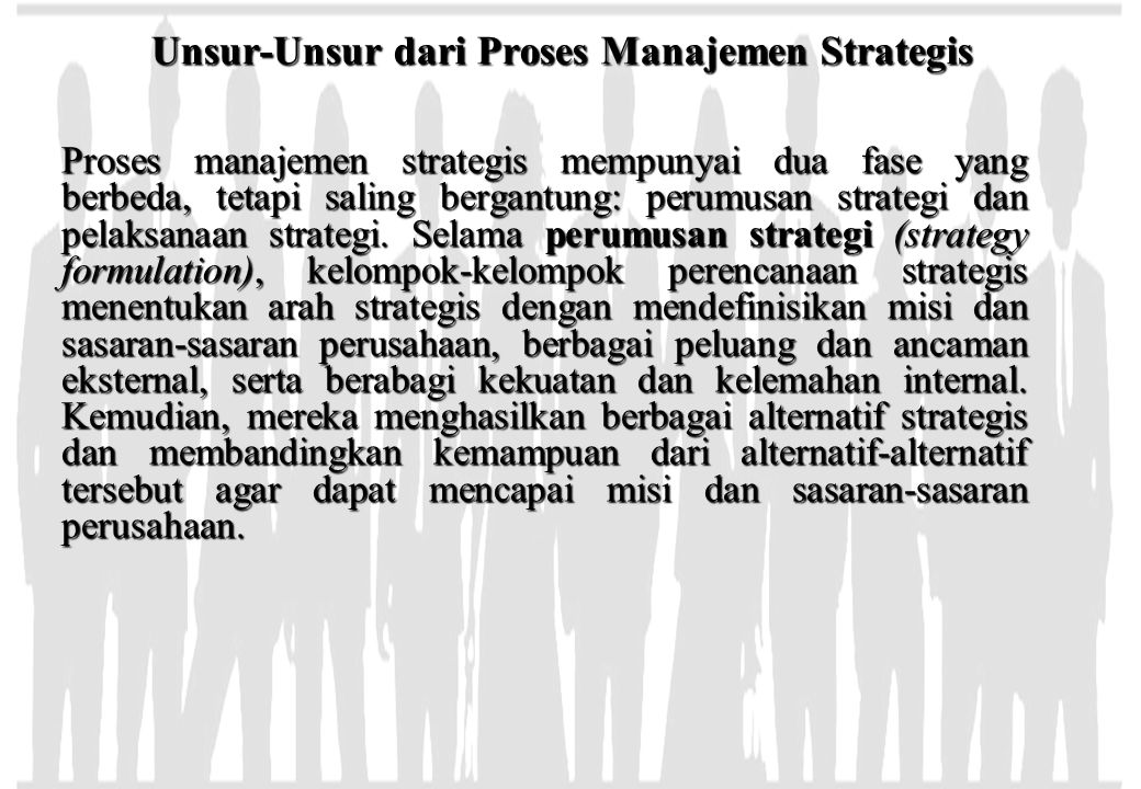 Unsur-Unsur dari Proses Manajemen Strategis