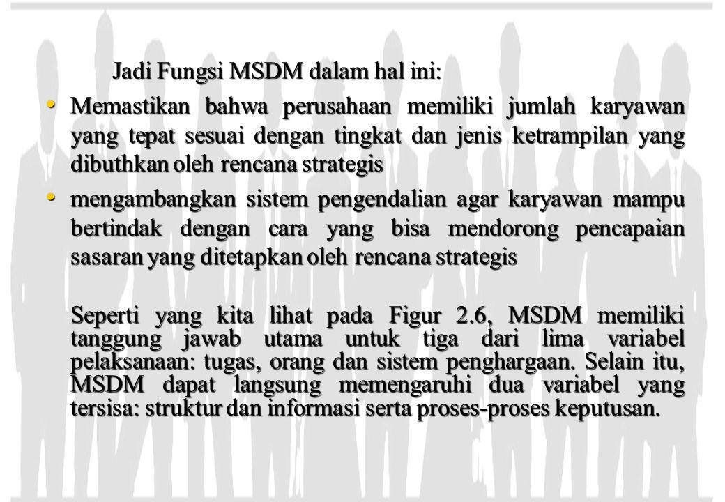 Jadi Fungsi MSDM dalam hal ini: