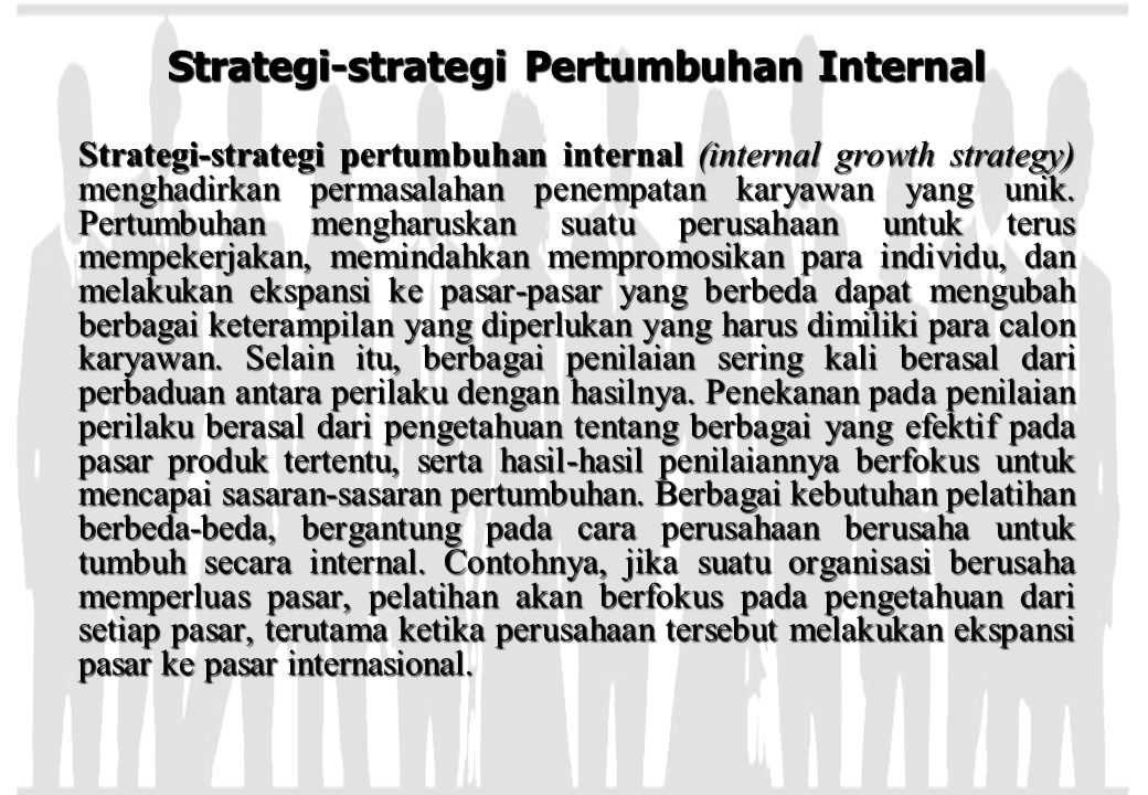Strategi-strategi Pertumbuhan Internal