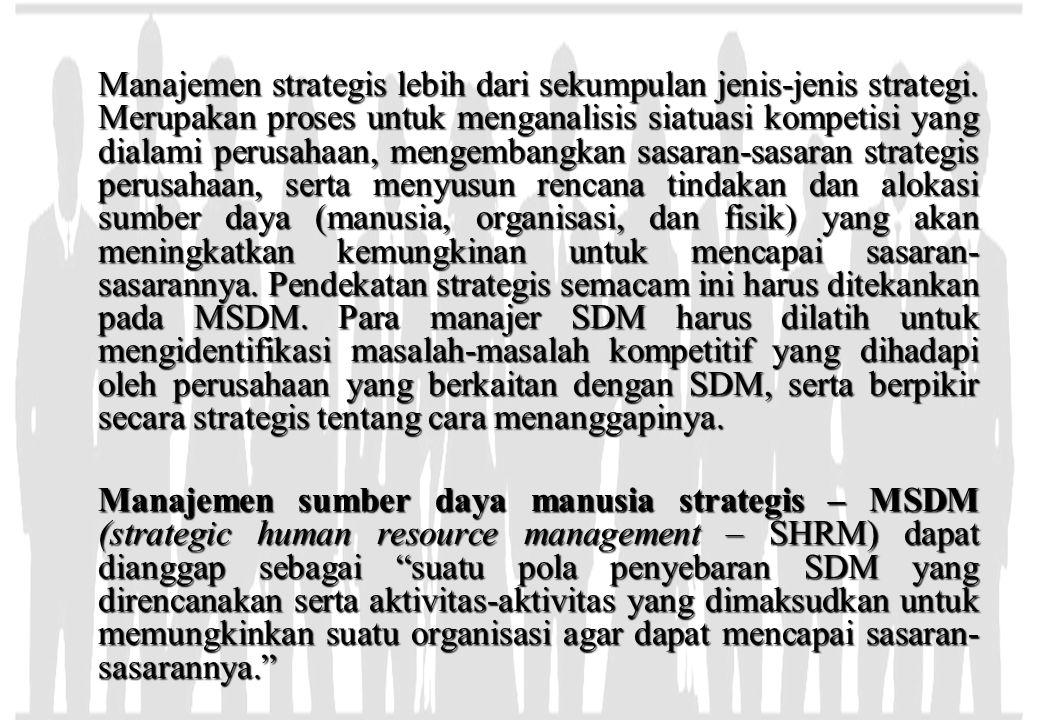 Manajemen strategis lebih dari sekumpulan jenis-jenis strategi