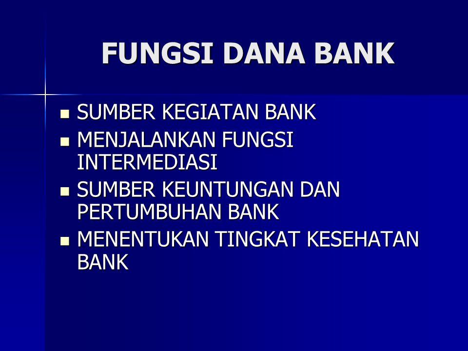FUNGSI DANA BANK SUMBER KEGIATAN BANK MENJALANKAN FUNGSI INTERMEDIASI