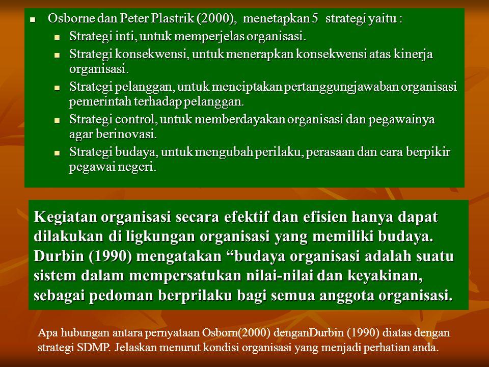 Osborne dan Peter Plastrik (2000), menetapkan 5 strategi yaitu :