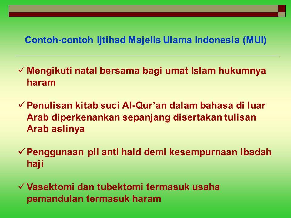 Contoh-contoh Ijtihad Majelis Ulama Indonesia (MUI)