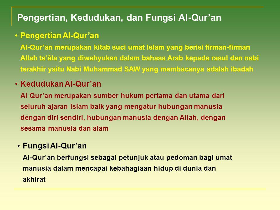 Pengertian, Kedudukan, dan Fungsi Al-Qur'an