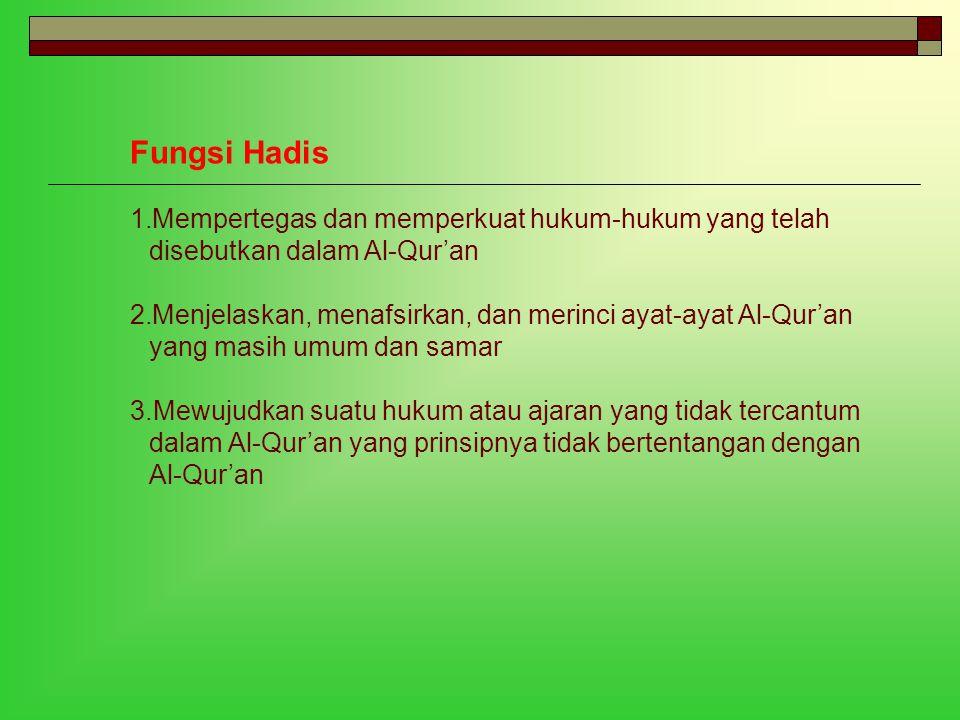 Fungsi Hadis Mempertegas dan memperkuat hukum-hukum yang telah disebutkan dalam Al-Qur'an.