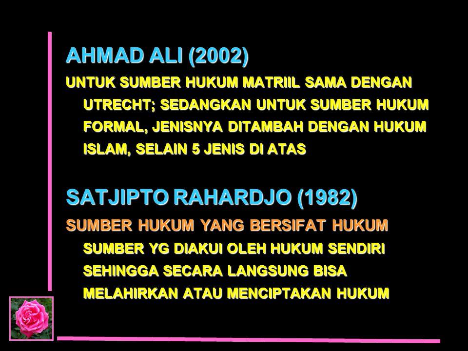AHMAD ALI (2002) SATJIPTO RAHARDJO (1982)