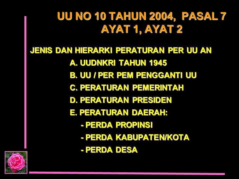 UU NO 10 TAHUN 2004, PASAL 7 AYAT 1, AYAT 2
