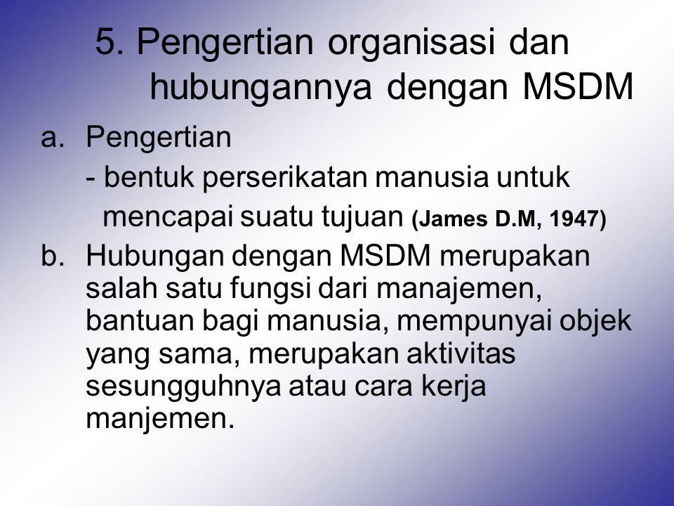 5. Pengertian organisasi dan hubungannya dengan MSDM