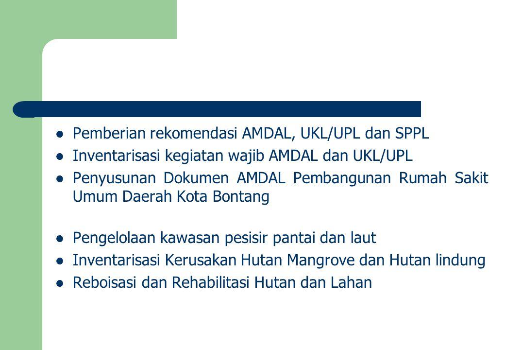 Pemberian rekomendasi AMDAL, UKL/UPL dan SPPL