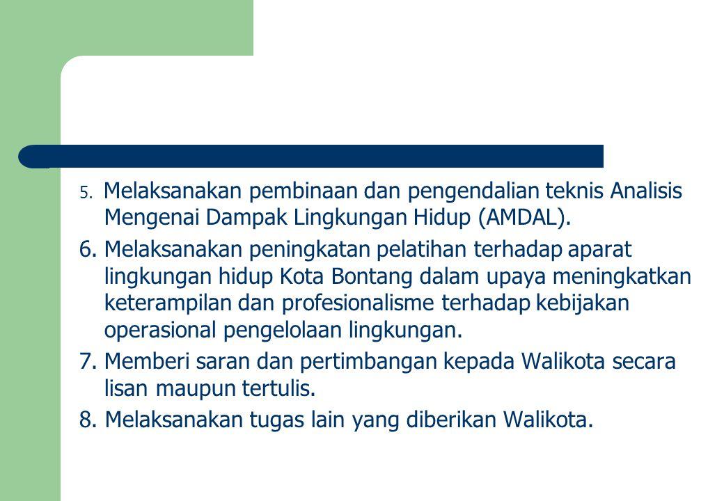 8. Melaksanakan tugas lain yang diberikan Walikota.