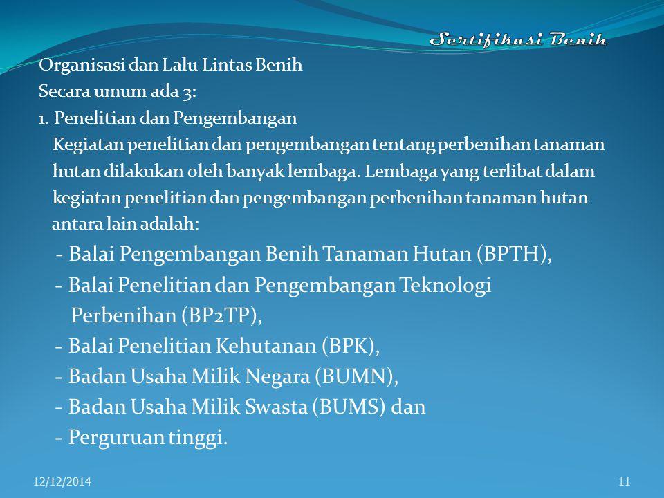- Balai Pengembangan Benih Tanaman Hutan (BPTH),