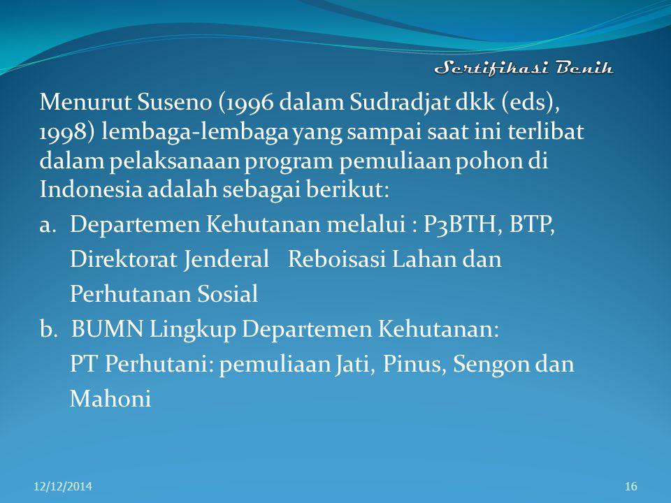 a. Departemen Kehutanan melalui : P3BTH, BTP,