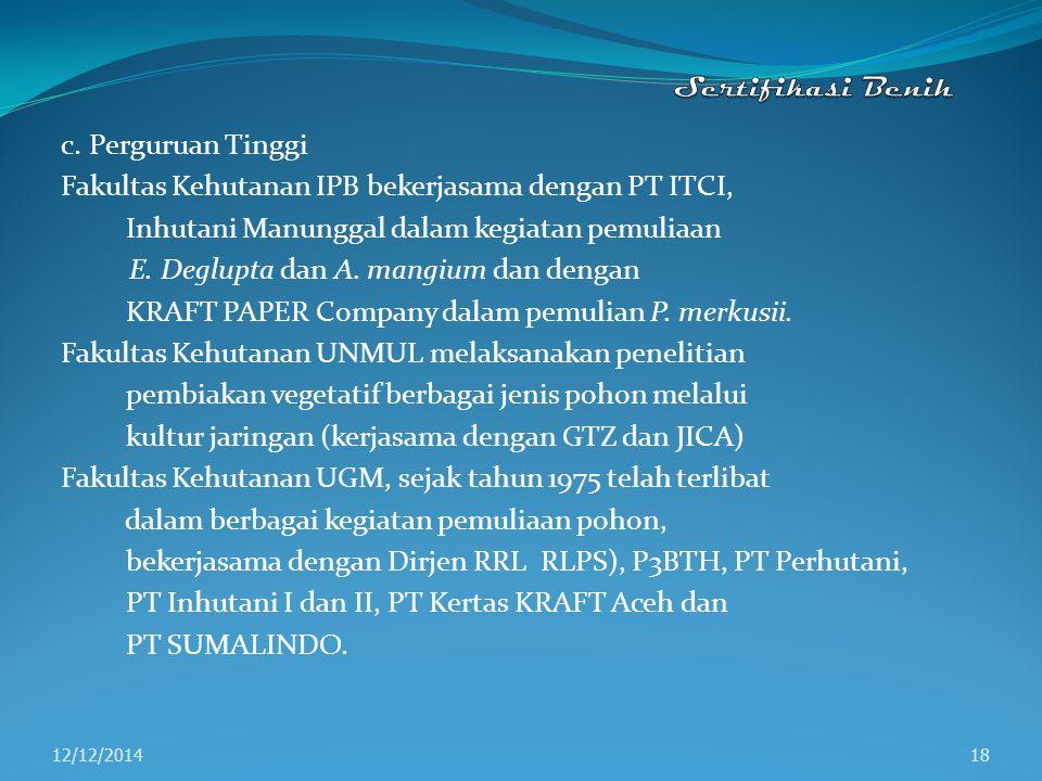 Fakultas Kehutanan IPB bekerjasama dengan PT ITCI,