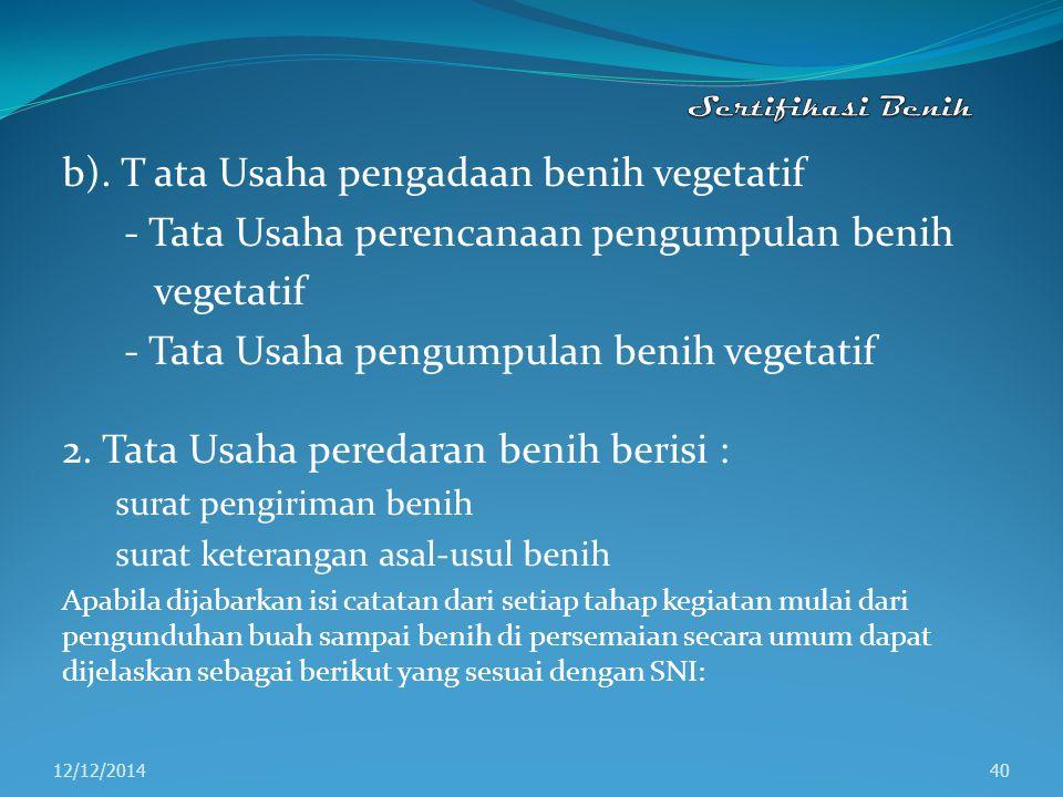 b). T ata Usaha pengadaan benih vegetatif