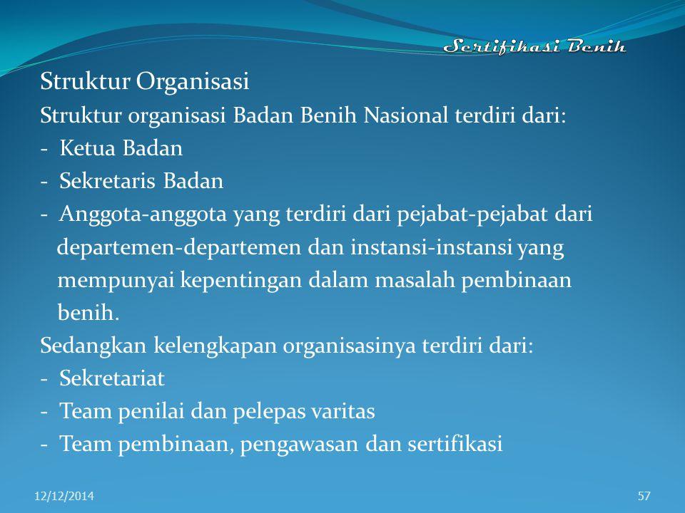 Sertifikasi Benih Struktur Organisasi. Struktur organisasi Badan Benih Nasional terdiri dari: - Ketua Badan.