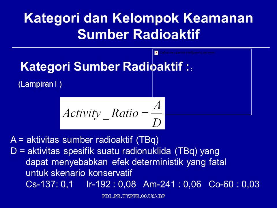 Kategori dan Kelompok Keamanan Sumber Radioaktif