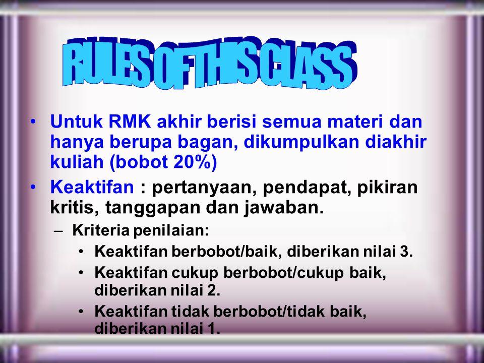 RULES OF THIS CLASS Untuk RMK akhir berisi semua materi dan hanya berupa bagan, dikumpulkan diakhir kuliah (bobot 20%)