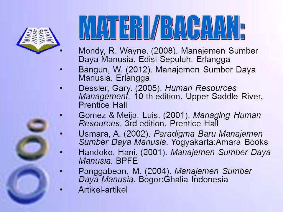 MATERI/BACAAN: Mondy, R. Wayne. (2008). Manajemen Sumber Daya Manusia. Edisi Sepuluh. Erlangga.