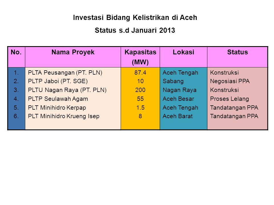 Investasi Bidang Kelistrikan di Aceh