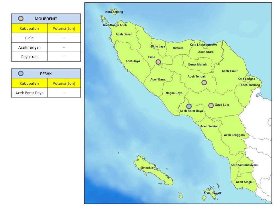 MOLIBDENIT Kabupaten. Potensi (ton) Pidie. - Aceh Tengah. Gayo Lues. PERAK. Kabupaten. Potensi (ton)