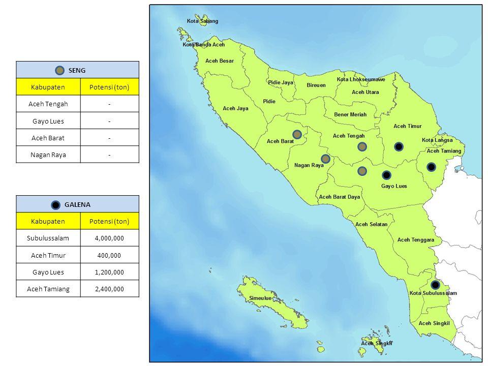 SENG Kabupaten. Potensi (ton) Aceh Tengah. - Gayo Lues. Aceh Barat. Nagan Raya. GALENA. Kabupaten.