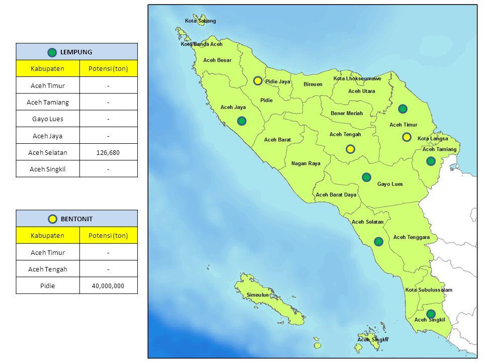 LEMPUNG Kabupaten. Potensi (ton) Aceh Timur. - Aceh Tamiang. Gayo Lues. Aceh Jaya. Aceh Selatan.