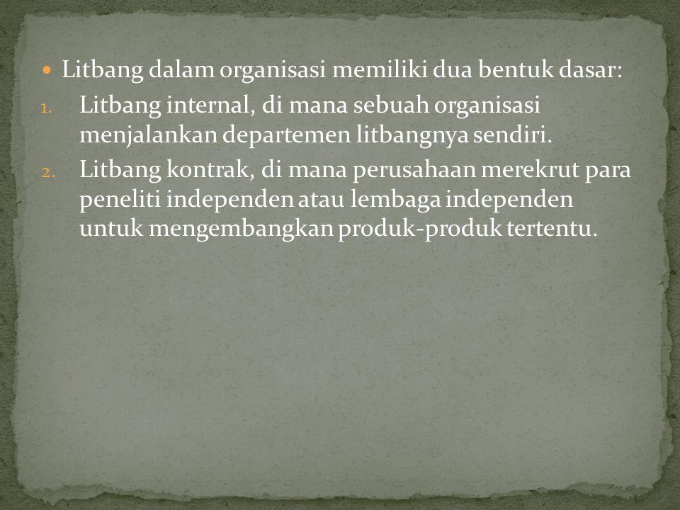 Litbang dalam organisasi memiliki dua bentuk dasar: