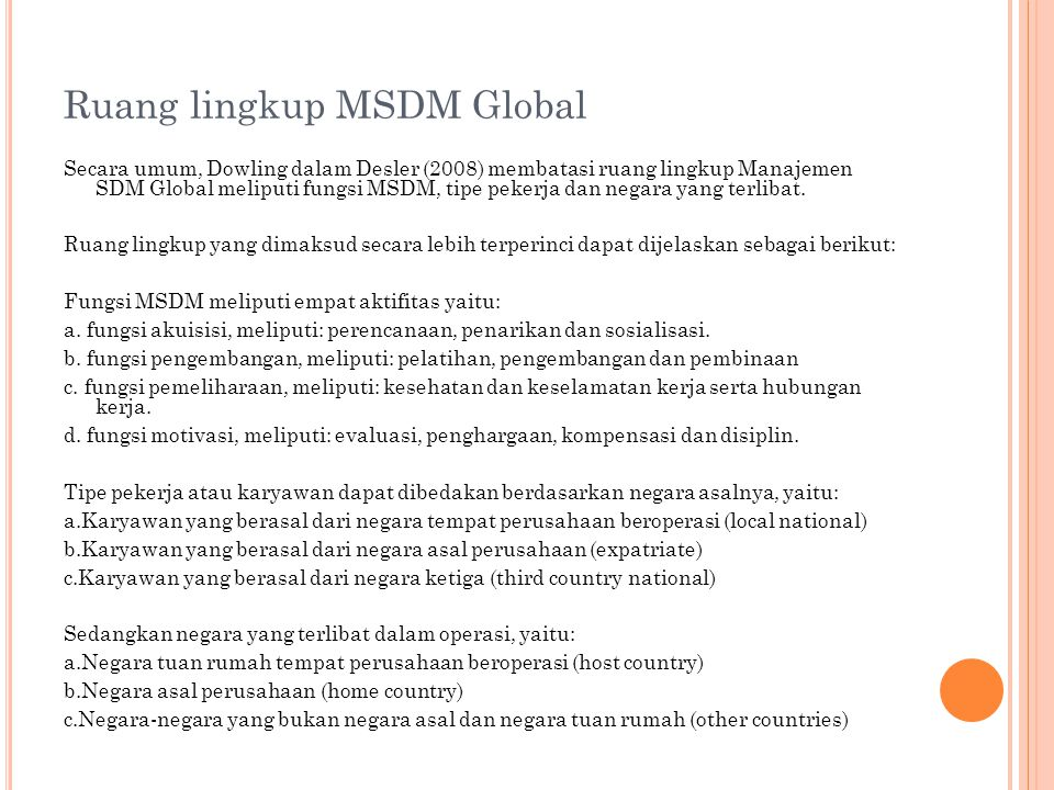 Ruang lingkup MSDM Global