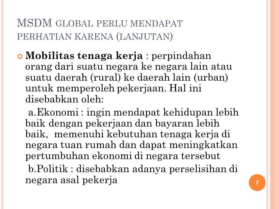 MSDM global perlu mendapat perhatian karena (lanjutan)