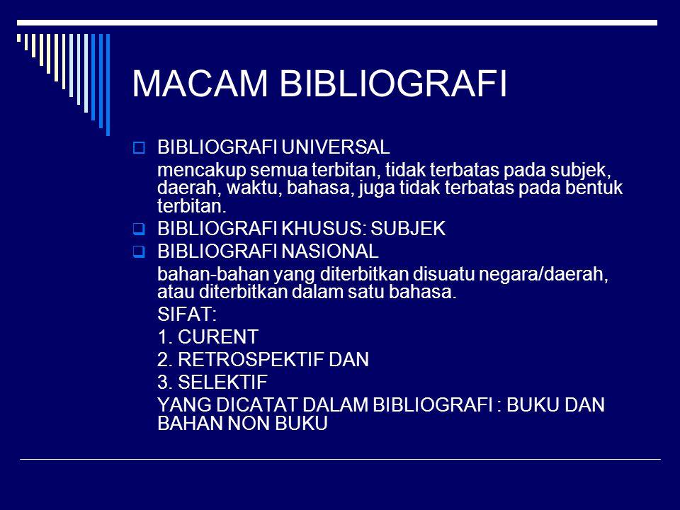 MACAM BIBLIOGRAFI BIBLIOGRAFI UNIVERSAL