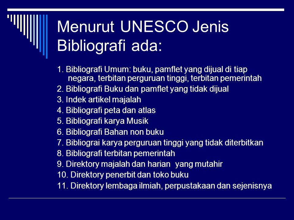 Menurut UNESCO Jenis Bibliografi ada: