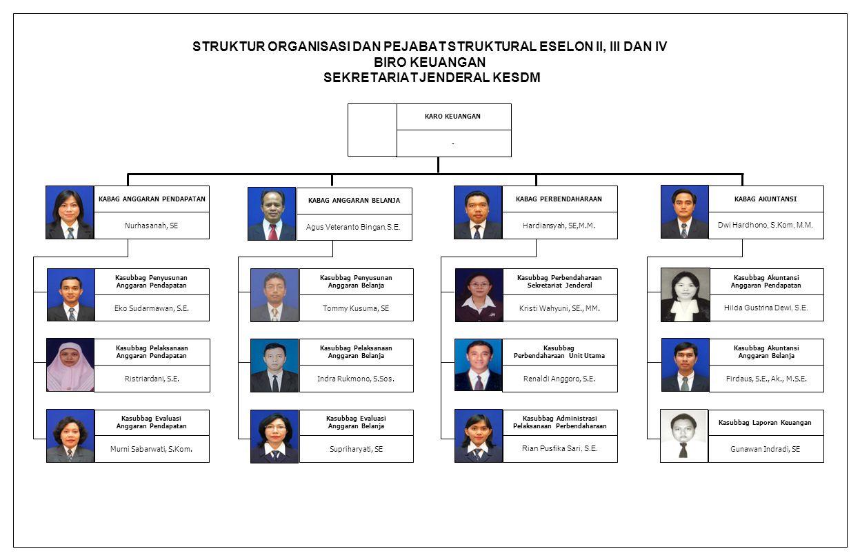 STRUKTUR ORGANISASI DAN PEJABAT STRUKTURAL ESELON II, III DAN IV BIRO KEUANGAN SEKRETARIAT JENDERAL KESDM
