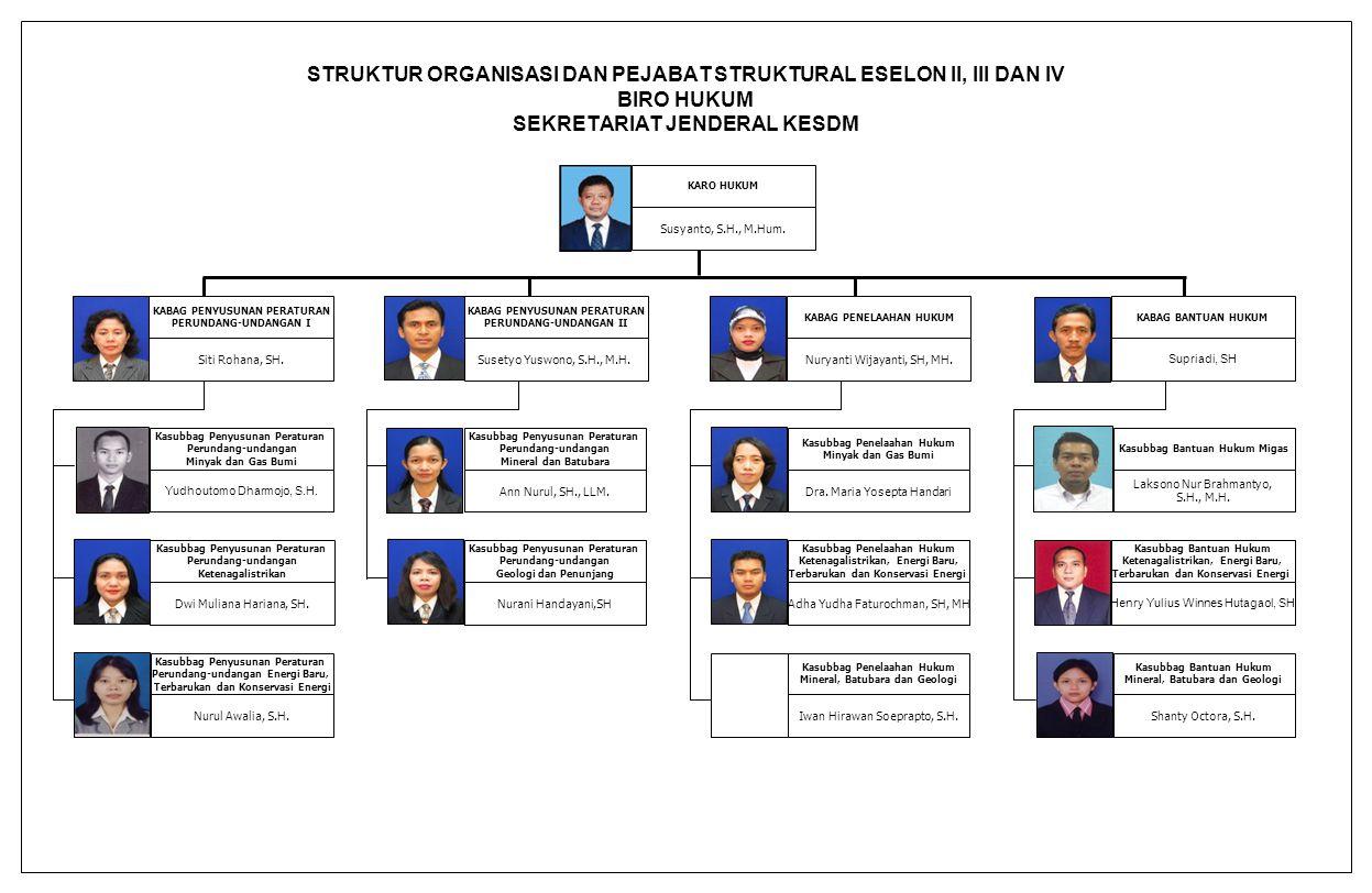 STRUKTUR ORGANISASI DAN PEJABAT STRUKTURAL ESELON II, III DAN IV BIRO HUKUM SEKRETARIAT JENDERAL KESDM