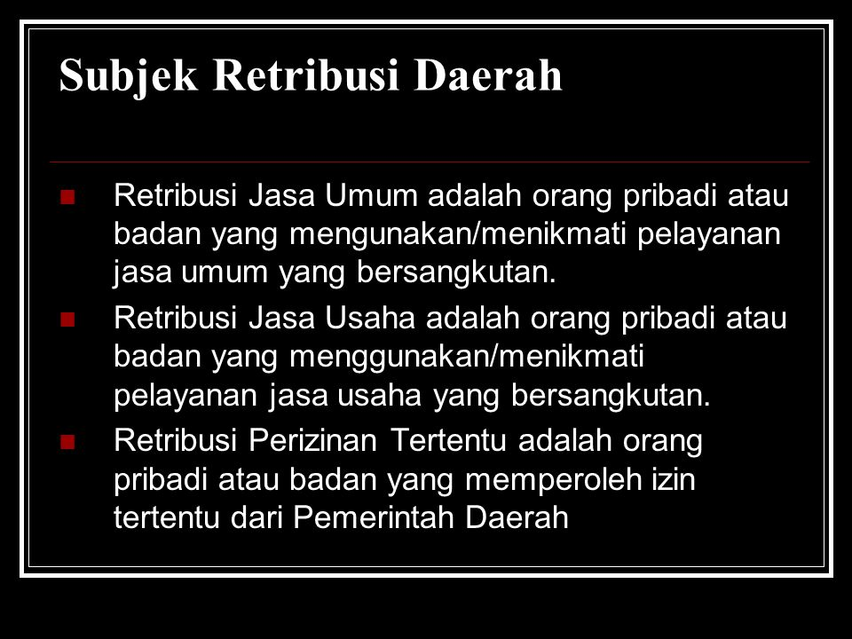 Subjek Retribusi Daerah