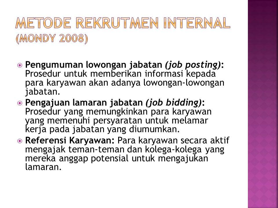 Metode Rekrutmen Internal (Mondy 2008)