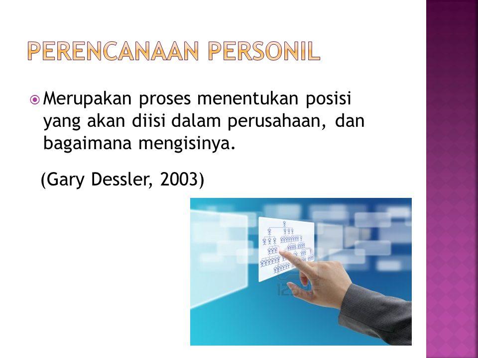 Perencanaan personil Merupakan proses menentukan posisi yang akan diisi dalam perusahaan, dan bagaimana mengisinya.