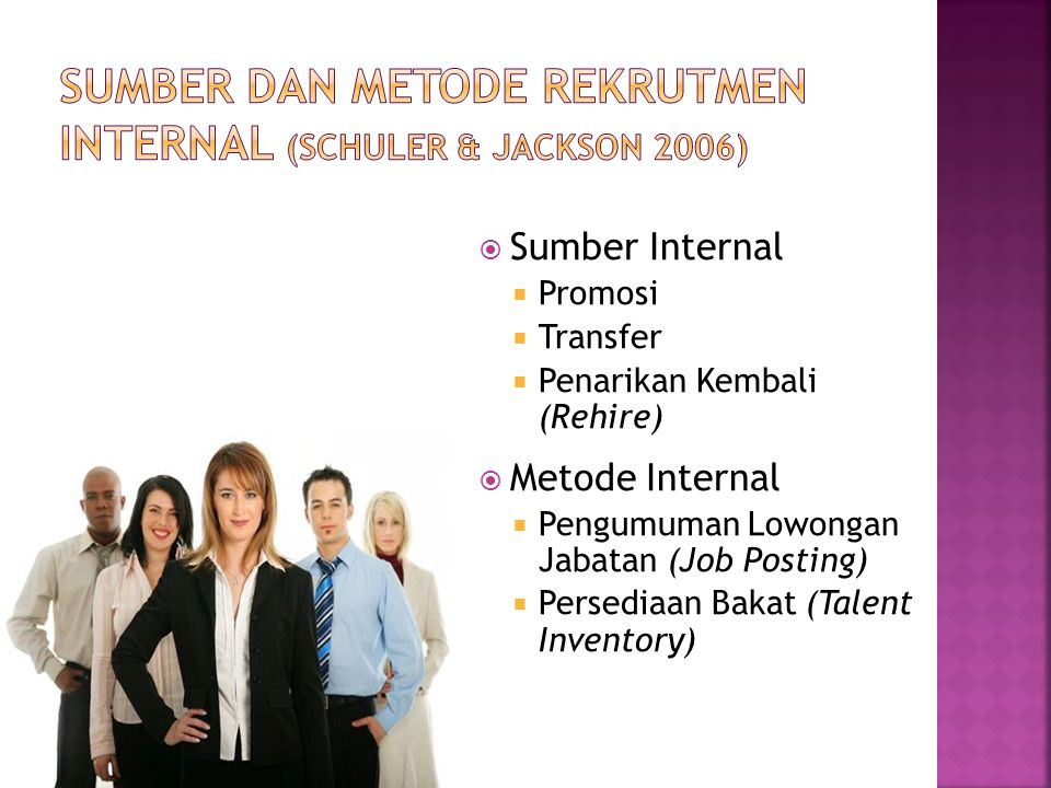 Sumber dan Metode Rekrutmen Internal (Schuler & Jackson 2006)