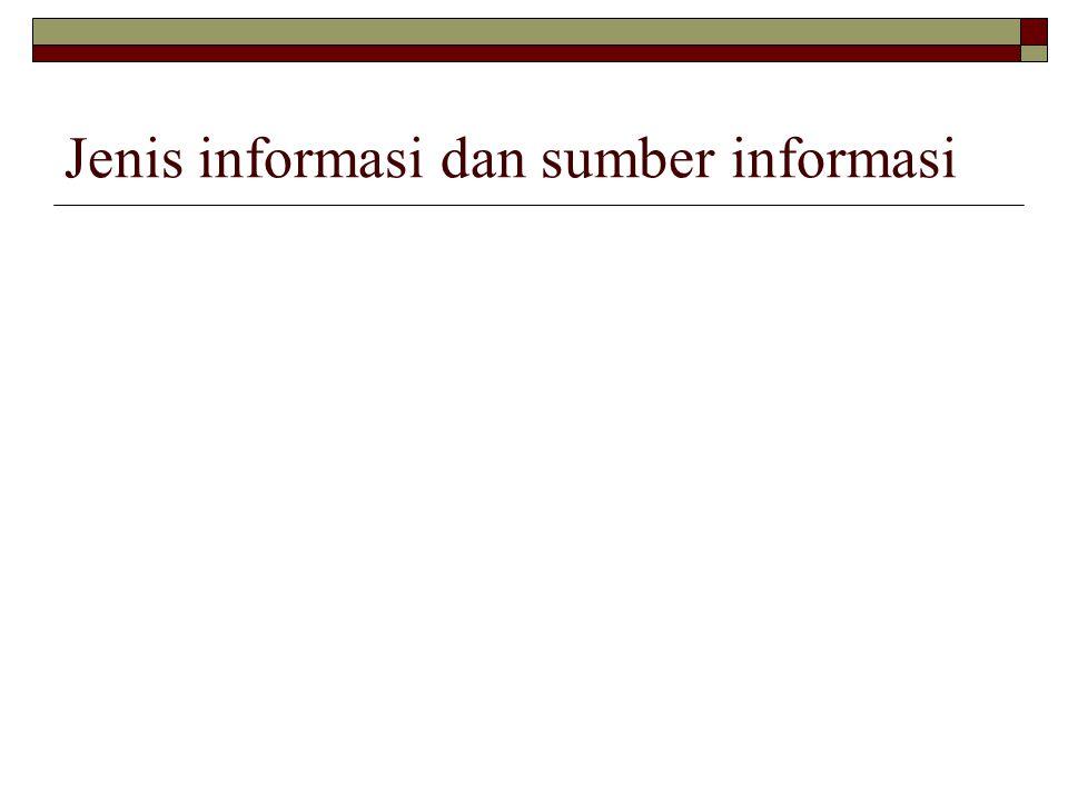Jenis informasi dan sumber informasi