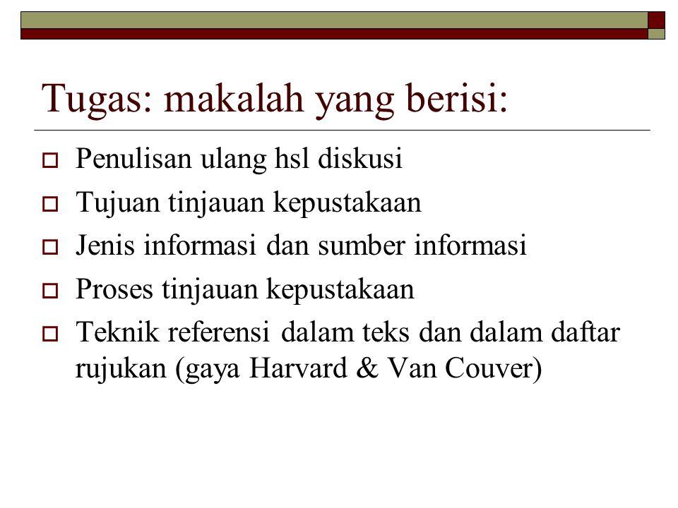 Tugas: makalah yang berisi: